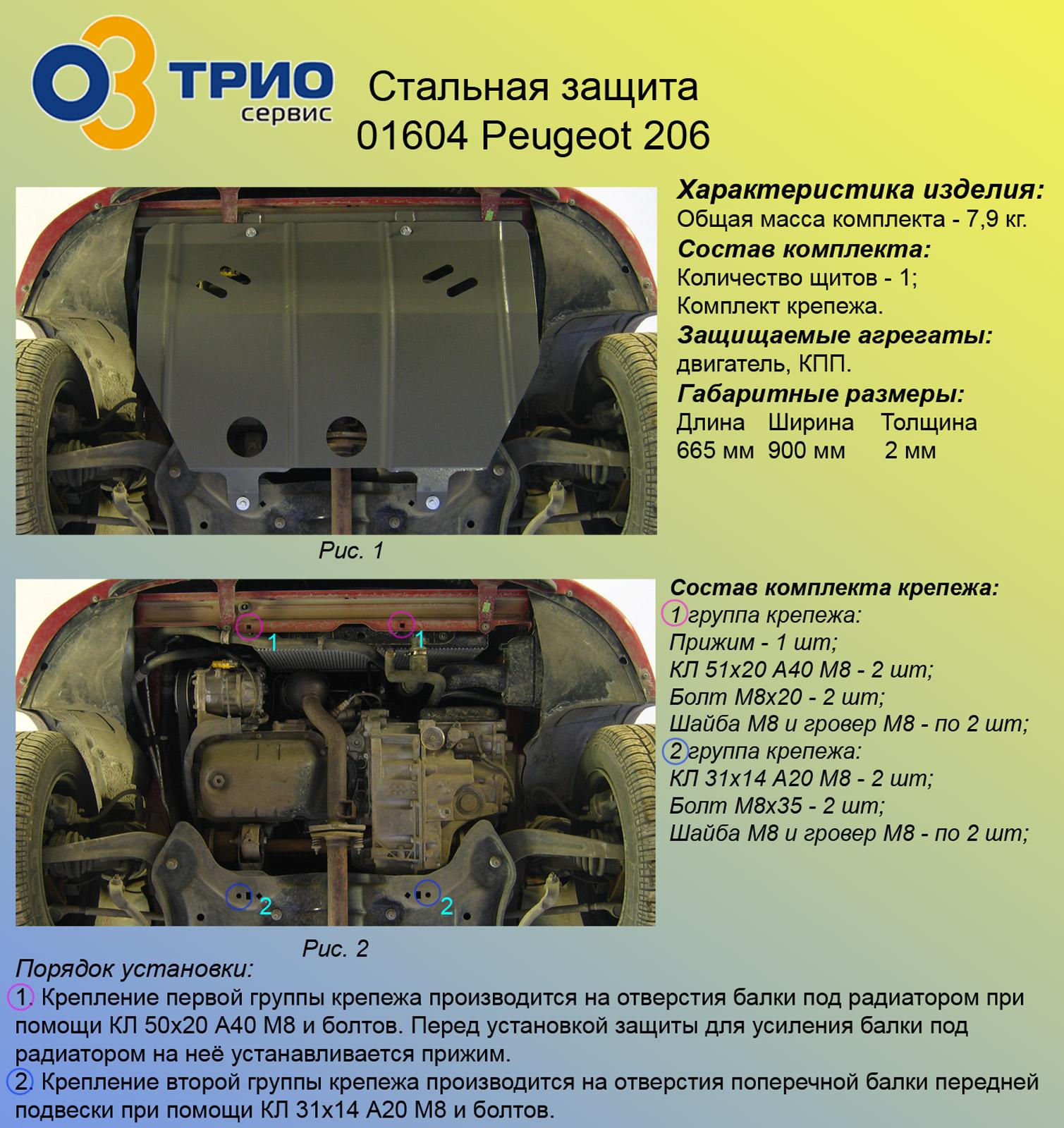 Защита двигателя на пежо 206